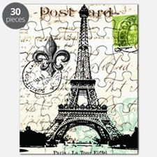 Vintage French Carte Postale Eiffel Tower Puzzle