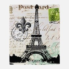 Vintage French Carte Postale Eiffel  Throw Blanket