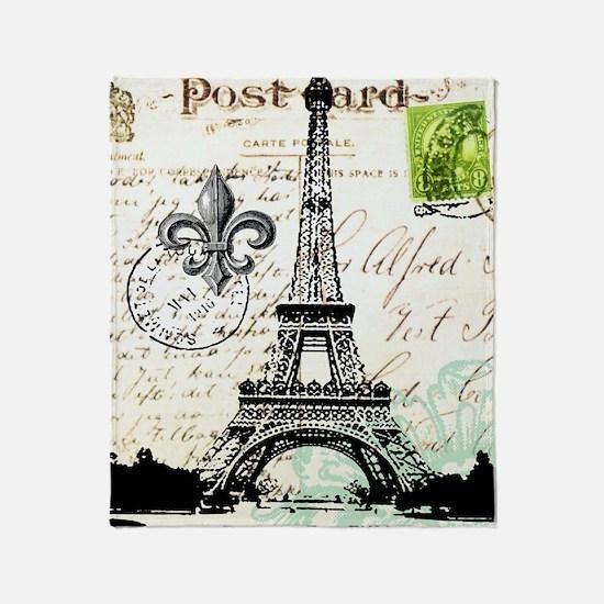 Vintage French Carte Postale Eiffel  Throw Blanket