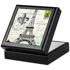 Vintage French Carte Postale Eiffel T Keepsake Box