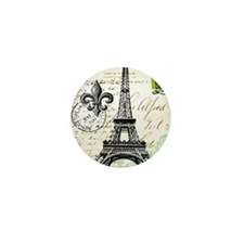 Vintage French Carte Postale Eiffel To Mini Button