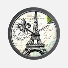 Vintage French Carte Postale Eiffel Tow Wall Clock