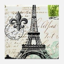 Vintage French Carte Postale Eiffel T Tile Coaster