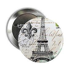 "Vintage French Carte Postale Eiffel T 2.25"" Button"