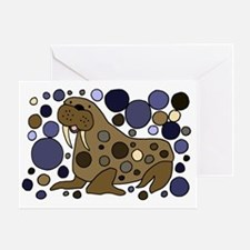 Colorful Walrus Art Greeting Card