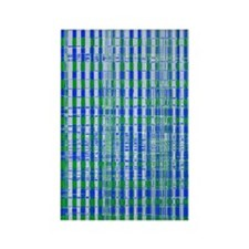 Blue Green Distressed Plaid Patte Rectangle Magnet