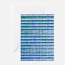 Blue Green Distressed Plaid Pattern  Greeting Card
