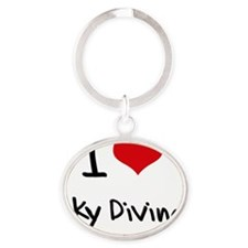 I love Sky Diving Oval Keychain