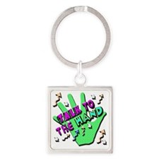 Talk To The Hand Square Keychain