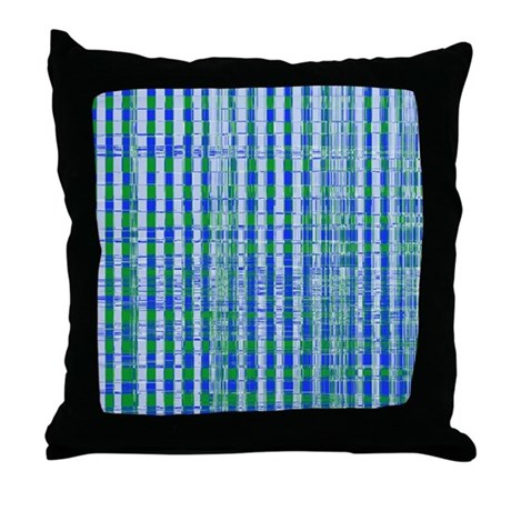 Blue Green Distressed Plaid Pattern Throw Pillow by ADMIN ...