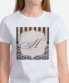 Gold and Navy Damask Monogram H Tee