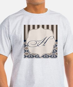 Gold and Navy Damask Monogram H T-Shirt