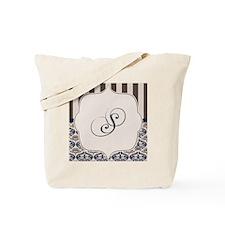 Gold and Navy Damask Monogram S Tote Bag