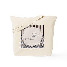 Gold and Navy Damask Monogram L Tote Bag