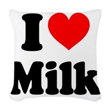 I Heart Milk Woven Throw Pillow