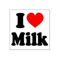 "I Heart Milk Square Sticker 3"" x 3"""