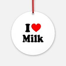I Heart Milk Round Ornament