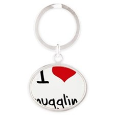 I love Snuggling Oval Keychain