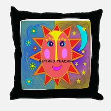 Retired Teacher sun moon pillow Throw Pillow