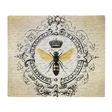 Vintage French Queen Bee Throw Blanket