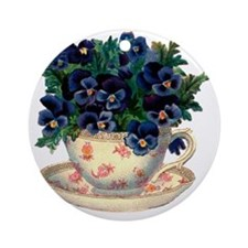 Teacup Flowers Round Ornament