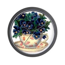 Teacup Flowers Wall Clock