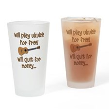 funny ukulele uke designs Drinking Glass