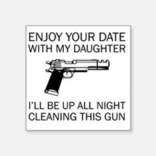 """Cleaning This Gun Square Sticker 3"""" x 3"""""""