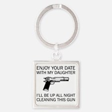 Cleaning This Gun Square Keychain