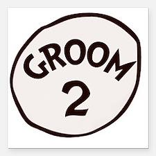 "Groom 2 Square Car Magnet 3"" x 3"""