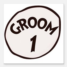 "Groom 1 Square Car Magnet 3"" x 3"""
