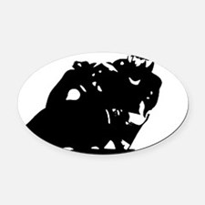 Motorcycle Silhouette Oval Car Magnet