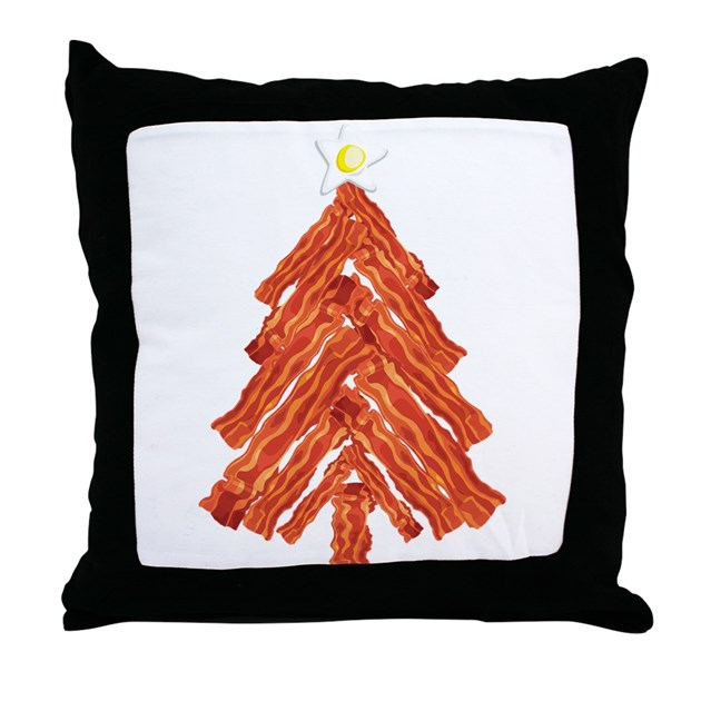 Bacon christmas tree throw pillow by wheeholiday for Bacon christmas tree decoration