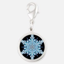 August Snowflake - square Silver Round Charm