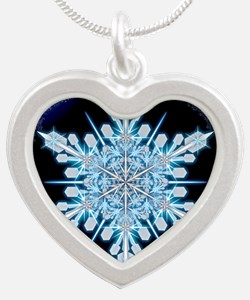August Snowflake - square Silver Heart Necklace