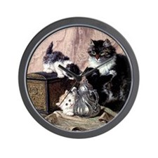 Mother cat and curious kittens Wall Clock