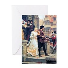 Medieval church wedding painting Greeting Card
