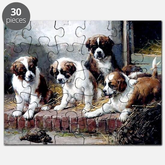 Saint Bernard puppies and turtle Puzzle