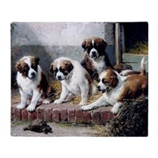 Saint Bernard puppies and turtle Throw Blanket
