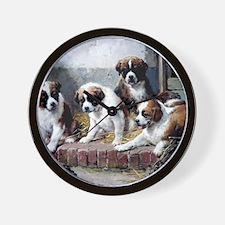 Saint Bernard puppies and turtle Wall Clock