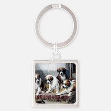 Saint Bernard puppies and turtle Square Keychain