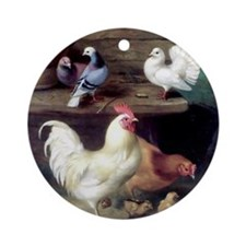 Rooster chicks and pigeons Round Ornament