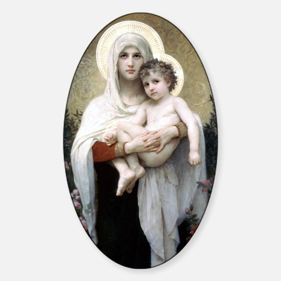 Madona with roses Bouguereau Sticker (Oval)