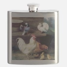 Rooster chicks and pigeons Flask