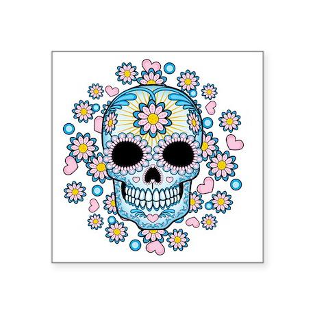 """Colorful Sugar Skull Square Sticker 3"""" x 3"""""""