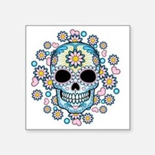 "Colorful Sugar Skull Square Sticker 3"" x 3"""