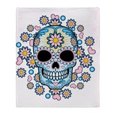 Colorful Sugar Skull Throw Blanket