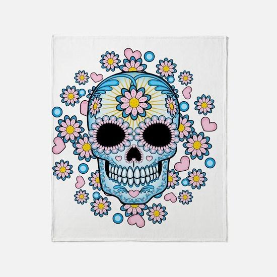 Colorful Sugar Skull Throw Blanket