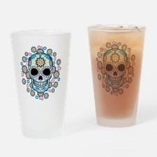 Colorful Sugar Skull Drinking Glass