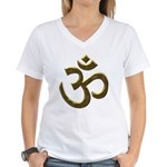 Golden Ohm & Buddha Quote Women's V-Neck T-Shirt